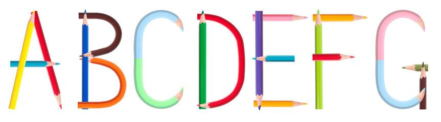 colorful pencil alphabet #1