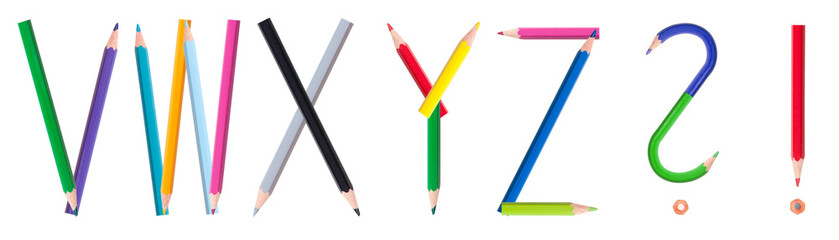 colorful pencil alphabet #4