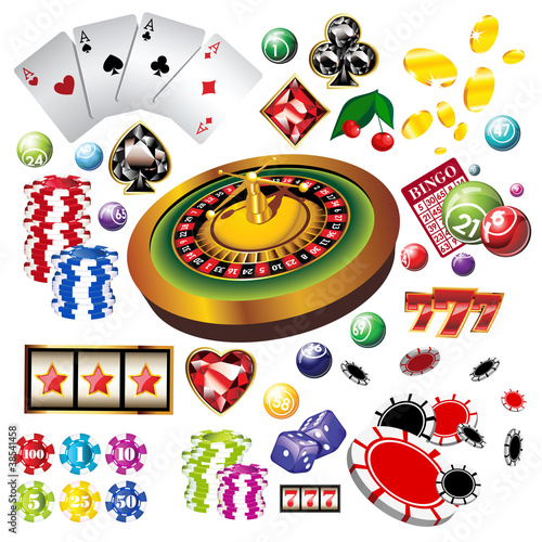 The set of vector casino elements or icons