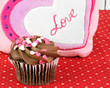 Delicious chocolate cupcake decorated for Valentines Day