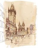 Old Town Square, Prague, Czech Republic - a vector sketch