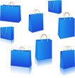 Blue paper bags vector set isolated on white vector