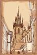 Urban view - Prague, Czech Republic - a vector sketch