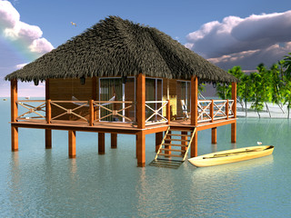 The wooden bungalows on the water.