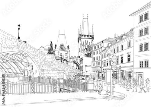 Charles Bridge - Prague, Czech Republic - avector sketch
