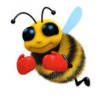 3d Bee wearing boxing gloves