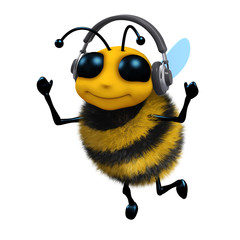 3d Bee is wearing headphones