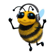 3d Bee is wearing headphones