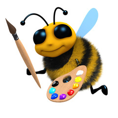 3d Bee with palette and brush