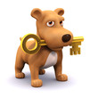 3d Dog holds the golden key in his mouth