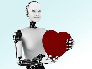 Robot woman holding big red heart.