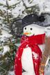 Schneemann im Winter mit rotem Schal