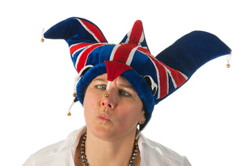 Woman with Brittain funny hat