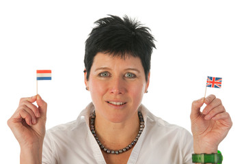 Young woman with English Dutch flags