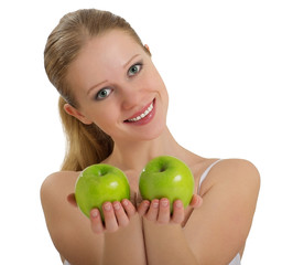 beautiful healthy girl holding a two green apple  isolated
