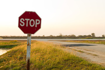 Stop sign at airfield