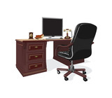 workstation with a leather armchair poster