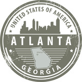 Stamp with name of Georgia, Atlanta, vector