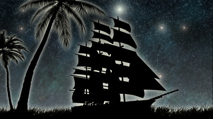 sailor ship at night
