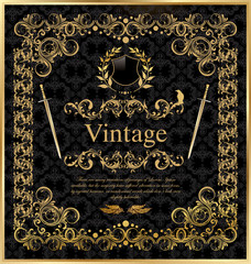 vintage gold black frame decor label