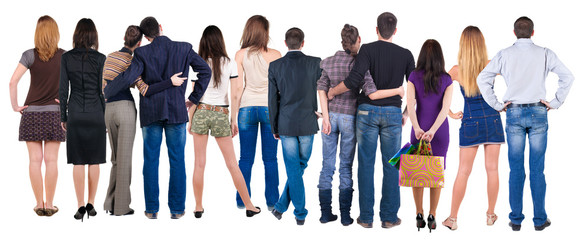 Back view group of people who are looking into the distance.