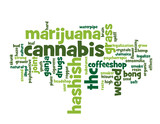 """CANNABIS"" Tag Cloud (marijuana hashish joint drugs weed grass)"