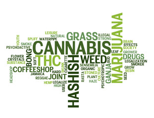 """CANNABIS"" Tag Cloud (marijuana grass weed drugs hashish joint)"