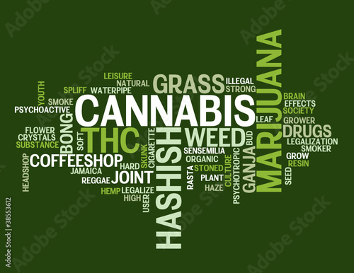 """CANNABIS"" Tag Cloud (marijuana grass weed hashish joint drugs)"