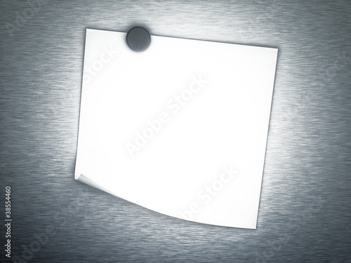 3d Empty note on metal background