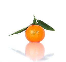 Tangerine with leaf. One mandarin isolated on white