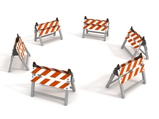 road barriers around circle on white background