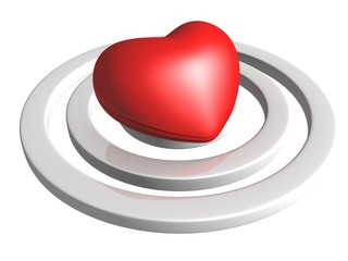 love concept. heart in center of target