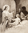The Resurrection of the Daughter of Jairus - old lithography