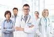 Portrait of medical team standing in hospital