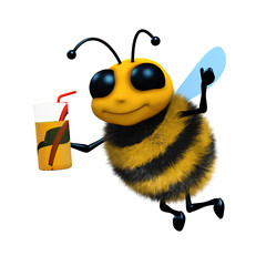 3d Bee drinks from a cool glass with straw