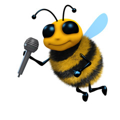 3d Bee with microphone