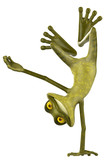frog cartoon in a radical pose