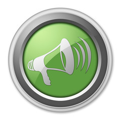 "Green 3D Style Button ""Megaphone / Announcement Symbol"""