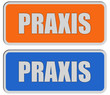 2 Sticker orange blau rel PRAXIS