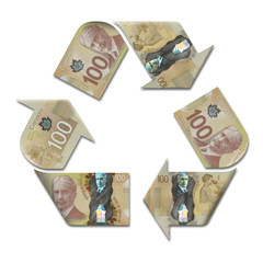 recycle symbol made with canadian dollars