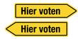 2 Pfeilschilder gelb HIER VOTEN