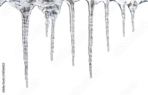 Leinwanddruck Bild icicles. Isolated with clipping path