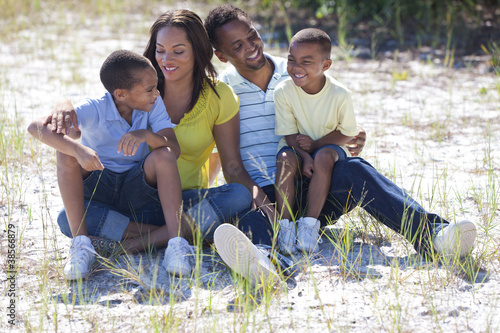 Happy African American Family Outside