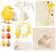 Easter Set with chicken,eggs,seamless garland