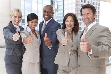 Interracial Men & Women Business Team Thumbs Up