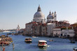 Venice with boats on Grand  canal in Italy