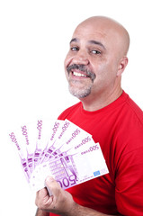 smiling man with 500 euro