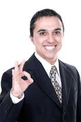 businessman smiling doing the okay sign