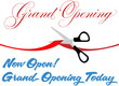 Scissors cut grand opening today ribbon