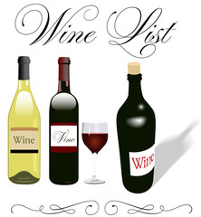 Wine list menu bottles glass design